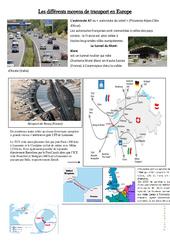 Les différents moyens de transport en Europe - Exercices  - Documents et questions : 4eme, 5eme Primaire