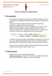 Écrire une date en toutes lettres - Fiche de préparation : 2eme Maternelle - Cycle Fondamental