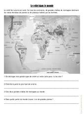 Le relief dans le monde - Exercices et correction - Géographie  : 4eme, 5eme Primaire