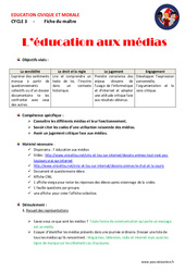 Education aux médias - Fiche de préparation : 4eme, 5eme Primaire