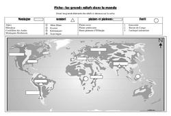 Les grands reliefs - Exercices carte - Géographie  : 4eme, 5eme Primaire