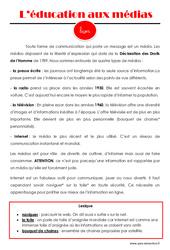 Education aux médias - Cours, Leçon : 4eme, 5eme Primaire