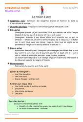 Moulin à vent - Fiche de préparation - Séquence : 2eme Maternelle - Cycle Fondamental