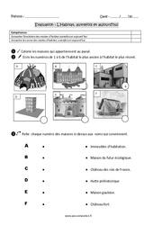 Habitat - Autrefois et aujourd'hui - Examen Evaluation : 2eme Primaire