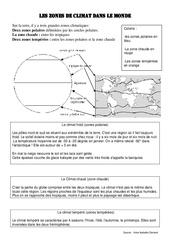 les zones de climat dans le monde - Exercices géographie  : 4eme, 5eme Primaire