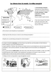 Le milieu tempéré - Exercices géographie  - Les climats dans le monde : 4eme, 5eme Primaire
