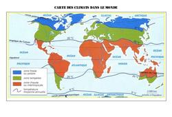 Carte des climats dans le monde - Géographie  : 4eme, 5eme Primaire