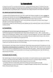 La francophonie - Cours, Leçon géographie : 4eme, 5eme Primaire