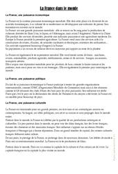La France dans le monde - Cours, Leçon géographie : 4eme, 5eme Primaire