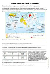 La langue française dans le monde - La francophonie - Exercices : 4eme, 5eme Primaire