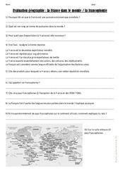 La France dans le monde - La francophonie - Examen Evaluation : 4eme, 5eme Primaire