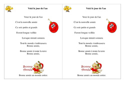 Voici le jour de l'an - Poésie, poème - Nouvel an : 2eme Primaire