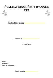 Evaluation - Diagnostique début d'année - Français : 3eme Primaire