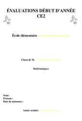 Evaluation début d'année - Diagnostiques  mathématiques : 3eme Primaire