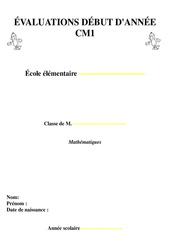 Evaluation début d'année - Diagnostique - Mathématiques : 4eme Primaire