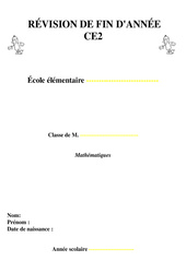 Révisions fin d'année - Mathématiques - Examen Evaluation  : 3eme Primaire