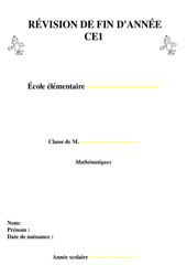 Révisions fin d'année - Mathématiques - Examen Evaluation  : 2eme Primaire