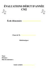Evaluation diagnostiques début d'année - Mathématiques : 5eme Primaire