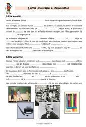 Ecole- Fiches aujourd'hui et autrefois - Cours, Leçon : 3eme Primaire