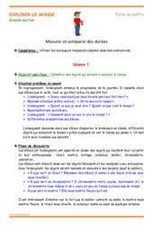 Mesurer et comparer des durées - Fiche de préparation - Séquence : 3eme Maternelle - Cycle Fondamental