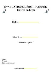 Evaluation diagnostique -  Mathématiques : 6eme Primaire