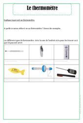 Thermomètre - Exercices - La matière - Sciences : 2eme Primaire