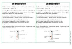 Thermomètre - Cours, Leçon - La matière : 2eme Primaire