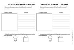 Electricité - Fiche de montage (1) - Exercices - La matière - Sciences : 2eme Primaire