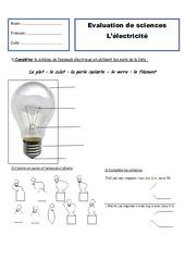 Electricité - Examen Evaluation : 2eme Primaire