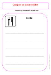 Compose ton menu - Exercices - Alimentation - Découverte du monde : 2eme Primaire