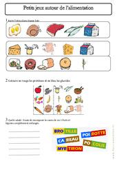 Jeux sur l'alimentation - Exercices - Aliments - Découverte du monde : 2eme Primaire