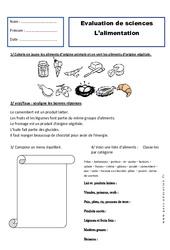 Alimentation - Examen Evaluation : 2eme Primaire