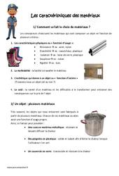 Caractéristiques des matériaux - Exercices : 4eme, 5eme Primaire