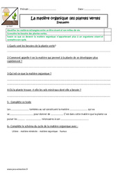 Matière organique - Plante verte - Examen Evaluation : 4eme, 5eme Primaire