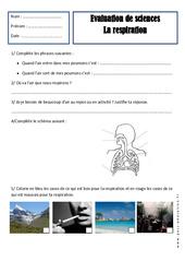 Respiration - Examen Evaluation : 2eme Primaire