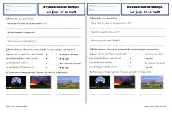 Jour, nuit - Examen Evaluation - Espace temps : 2eme Primaire