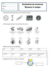Mesurer le temps - Examen Evaluation - Espace temps : 2eme Primaire