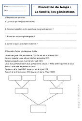 Générations - Famille - Examen Evaluation - Espace temps : 2eme Primaire