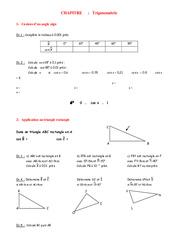 Trigonométrie- Fiches Cosinus, Sinus, Tangente - Angles - Géométrie - Exercices - Examen Contrôle - Mathématiques : 2eme Secondaire