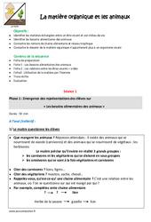 Animaux - Matière organique - Fiche de préparation : 4eme, 5eme Primaire