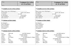 Verbes en er - Futur - Conjugaison - Exercices corrigés : 2eme Primaire