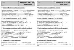 Remplacer le Groupe sujet par un pronom - Grammaire - Exercices corrigés : 2eme Primaire