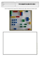 De la maquette au plan de la classe - Représenter l'espace - Exercices - Espace temps : 1ere, 2eme Primaire