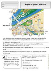 Plan du quartier - Ville - Représenter l'espace - Exercices - Espace temps : 2eme Primaire