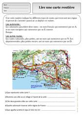 Lire une carte routière - Représenter l'espace - Exercices - Espace temps : 2eme Primaire