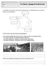 Littoral - Paysages de bords de mer - Exercices - Espace temps : 2eme Primaire
