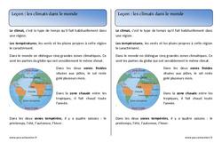 Climats dans le monde - Cours, Leçon : 2eme Primaire