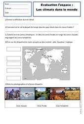 Climats - Examen Evaluation - Espace temps : 2eme Primaire