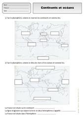 Continents - Océans - Exercices - Espace temps : 2eme Primaire