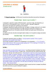 Matières - Fiche de préparation - Séquence : 3eme Maternelle - Cycle Fondamental